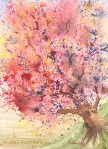 Red Tree, watercolor, 7