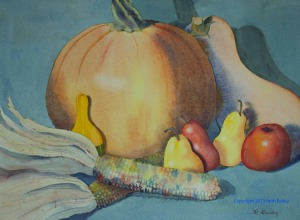 "Autumn Still Life #2, watercolor, 10"" x 14"""