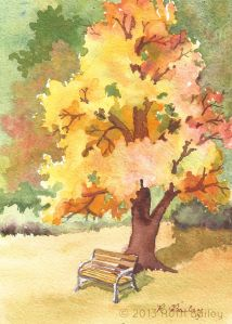 Autumn Tree with Bench, watercolor, 7