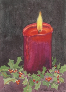 """A Light in the Darkness, watercolor, 7"""" x 5"""""""