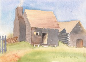 Colonial Cabin, watercolor, 5