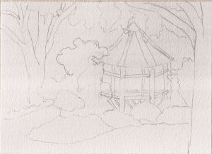 "Sketch for Londontown Gazebo, pencil, 5"" x 7"""