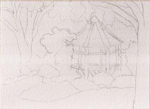 """Sketch for Londontown Gazebo, pencil, 5"""" x 7"""""""