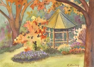 "London Town Gazebo #2, watercolor, 5"" x 7"""