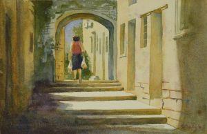 """Homeward from Market, watercolor, 6.5"""" x 10"""""""