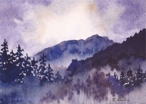 "Mist in the Mountains, watercolor, 5"" x 7"""