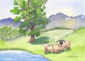 "The Lord is My Shepherd, watercolor, 5"" x 7"""