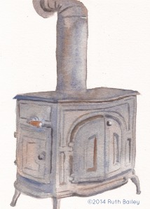 "Our Wood Stove, watercolor, 7"" x 5"""