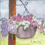 "Basket of Flowers, watercolor, 4"" x 4"""
