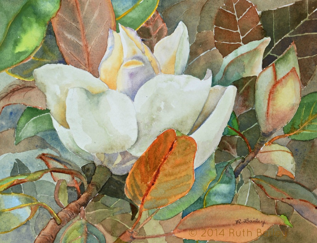 """Another Magnolia, watercolor, 7.5"""" x 10"""""""