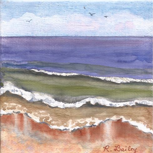"Beach Mini, watercolor on canvas, 4"" x 4"""