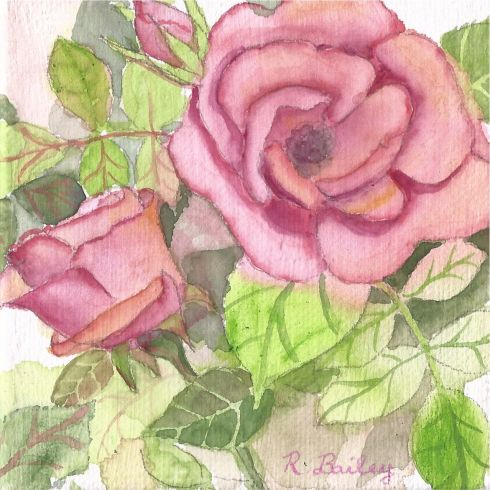 "Pink Roses Mini, watercolor on canvas, 4"" x 4"""
