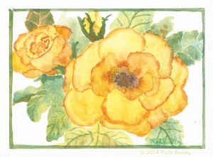 Yellow Rose Card, watercolor, 4.5 x 6