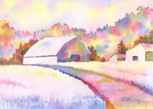 "Barns in Broken Color, watercolor, 5"" x 7"""