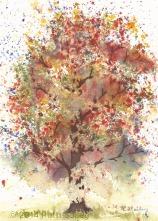 """Autumn Oak, watercolor, 7"""" x 5"""""""