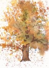 "Farmhouse Tree, watercolor, 7"" x 5"""