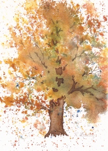 Farmhouse Tree, watercolor, 7