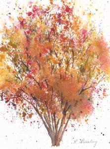 Autumn Birch, watercolor, 7
