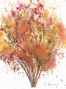"Autumn Birch, watercolor, 7"" x 5"""
