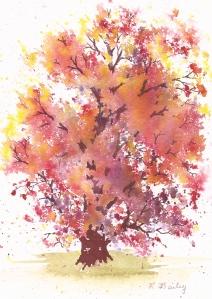 Autumn Red Oak, watercolor, 7