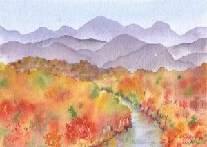 """Autumn in the Mountains, watercolor, 5"""" x 7"""""""