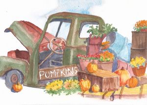 "Pumpkins 4 Sale, watercolor, 5"" x 7"""