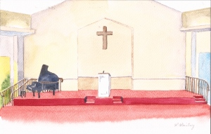 "Church platform idea #2, watercolor, 6"" x 9"""