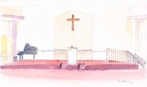 "Church platform idea, watercolor, 6"" x 9"""
