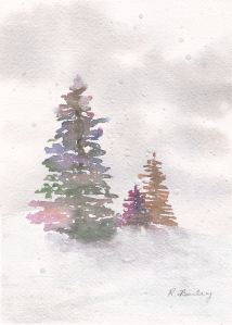 "Fanciful Firs, watercolor and gauche, 7"" x 5"""