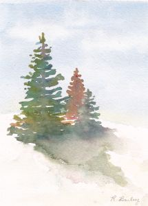 "Hilltop Spruce, watercolor, 7"" x 5"""
