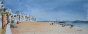 The Beach at Rota, watercolor, 5
