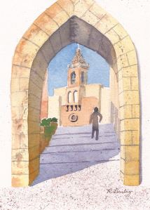 "Callejón San Vicente de Paul (Rota, Spain), watercolor, 7"" x 5"""