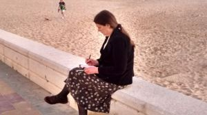 Ruth sketching, Rota, Spain