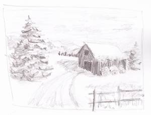 Last Night's Snow - value sketch, pencil