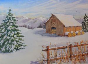 "Last Night's Snow, watercolor, 10"" x 14"""