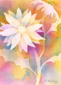 Fanciful Flower, watercolor, 7