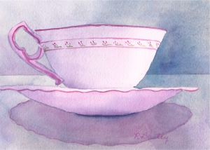 "Join Me for Tea?  watercolor, 5"" x 7"""