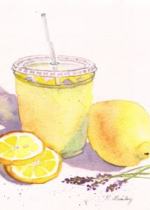 "Lavender Lemonade, watercolor, 7"" x 5"""