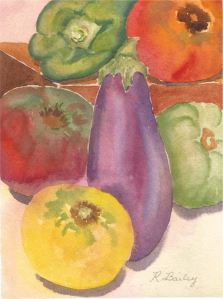 "Veggies from Lothian Produce, watercolor, 7"" x 5"""