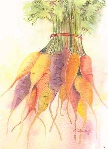 "Primaterra Carrots, watercolor, 10"" x 8"""