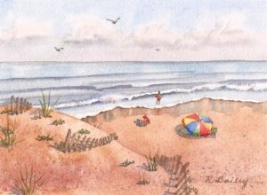 A Day at the Beach, watercolor, 5