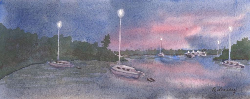 "Night at Dun Cove, watercolor, 4"" x 9.75"""