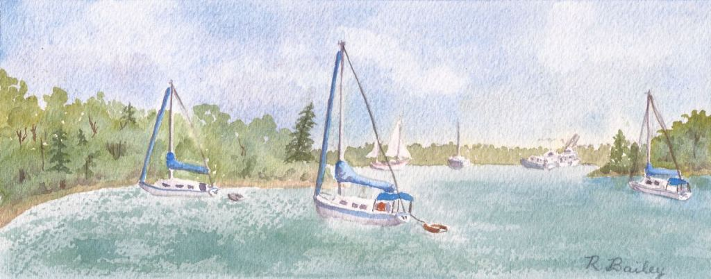 "Day at Dun Cove, watercolor, 4"" x 9.75"""