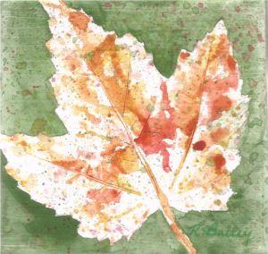 "A Fingerprint of Autumn, watercolor on canvas, 4"" x 4"""