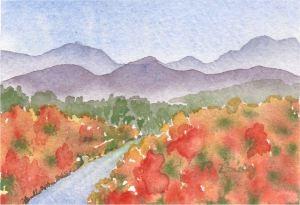 "Mountain View, watercolor, 3"" x 4"""