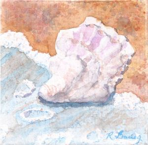 "Washed Ashore, watercolor on canvas, 4"" x 4"""