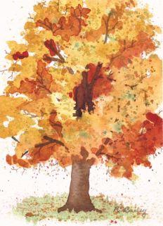 """Golden Glow, watercolor, 7"""" x 5"""""""