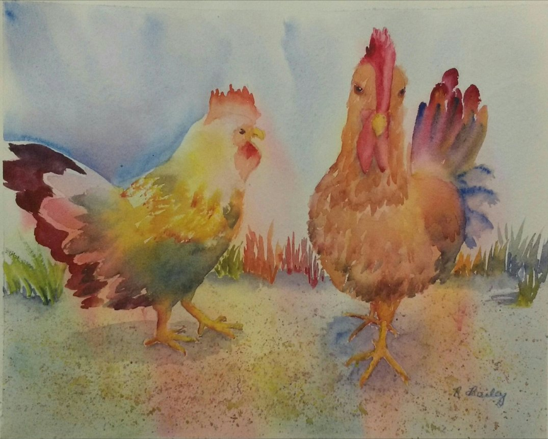 Watercolor painting of chickens using primary colors
