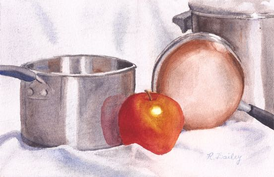 watercolor painting of pots, pans, and an apple.  Shiny metal, copper bottom